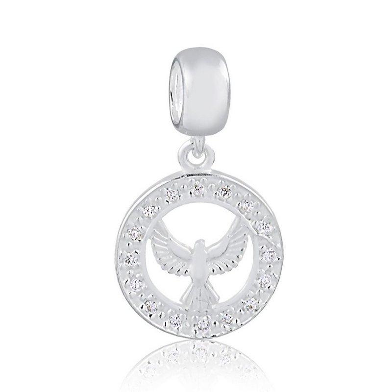 Berloque Espírito Santo com Zircônia Prata 925