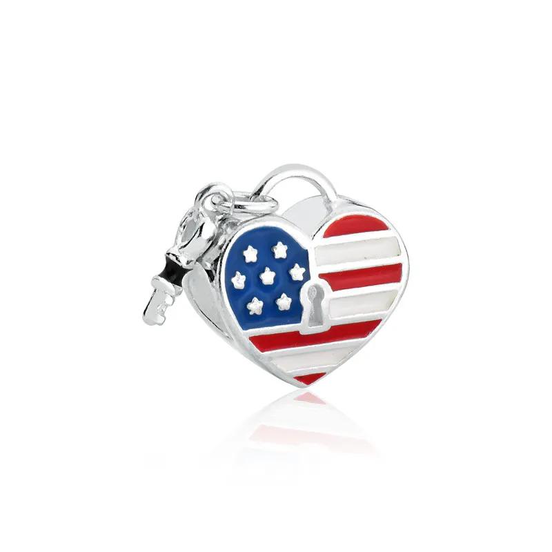 Berloque Coração Estados Unidos EUA Prata 925