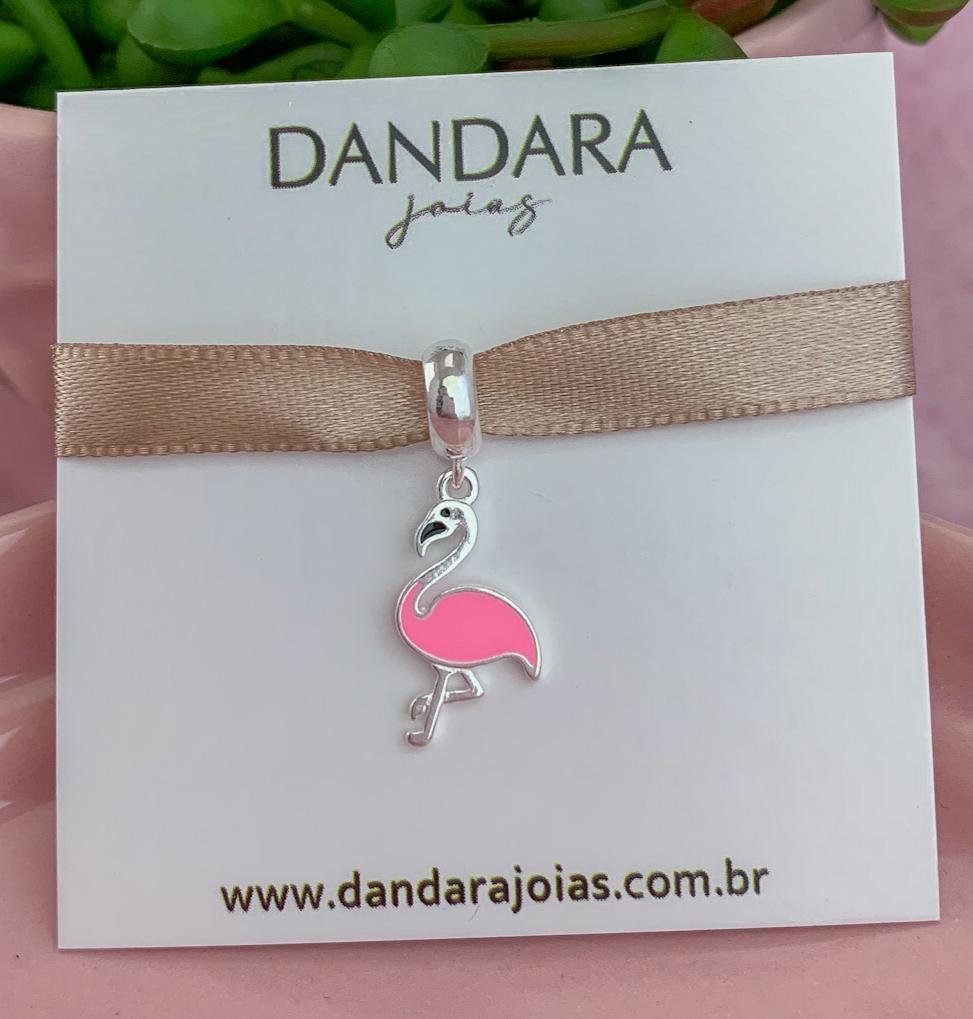 Berloque Flamingo Rosa Prata 925