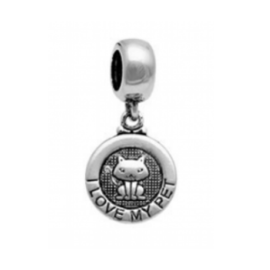 Berloque Gato I Love My Pet Medalha Prata 925