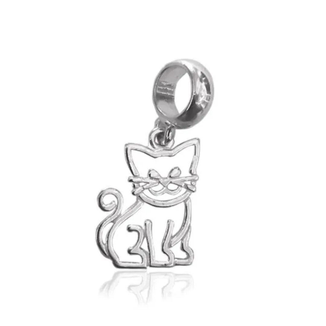 Berloque Gato Vazado Prata 925
