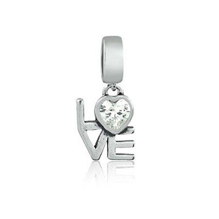 Berloque Love Com Coração de Zircônia Prata 925