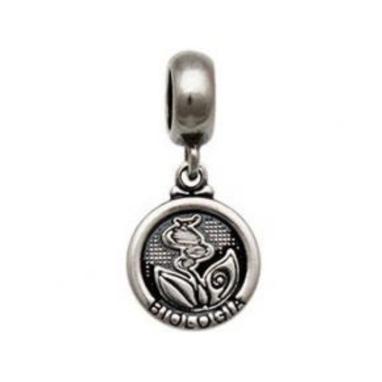 Berloque Medalha Biologia Prata 925