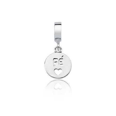 Berloque Medalha Fé Prata 925
