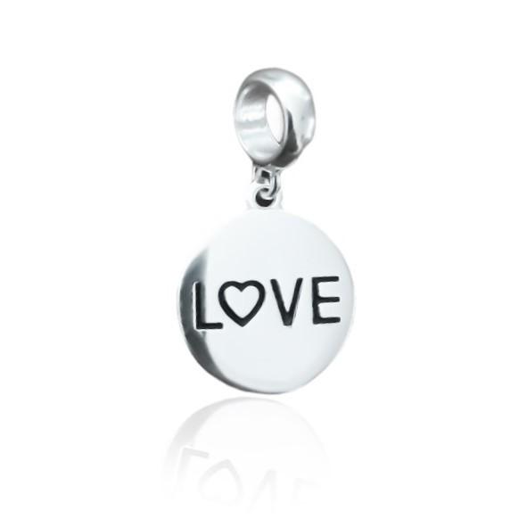 Berloque Medalha Love Prata 925