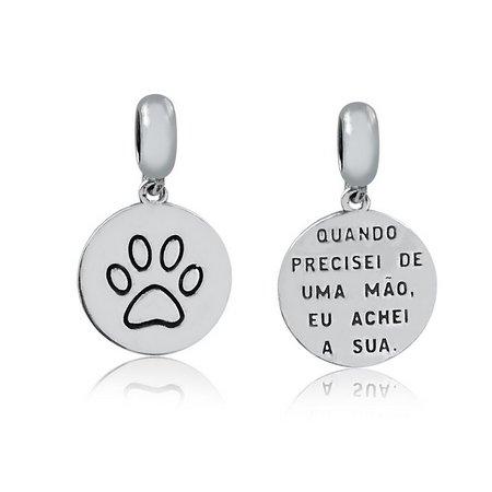 Berloque Medalha Pata de Cachorro Prata 925