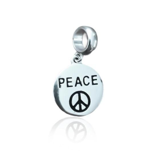 Berloque Medalha Peace Prata 925