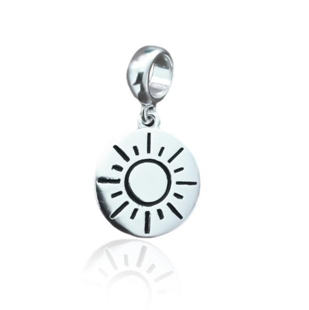 Berloque Medalha Sol Prata 925