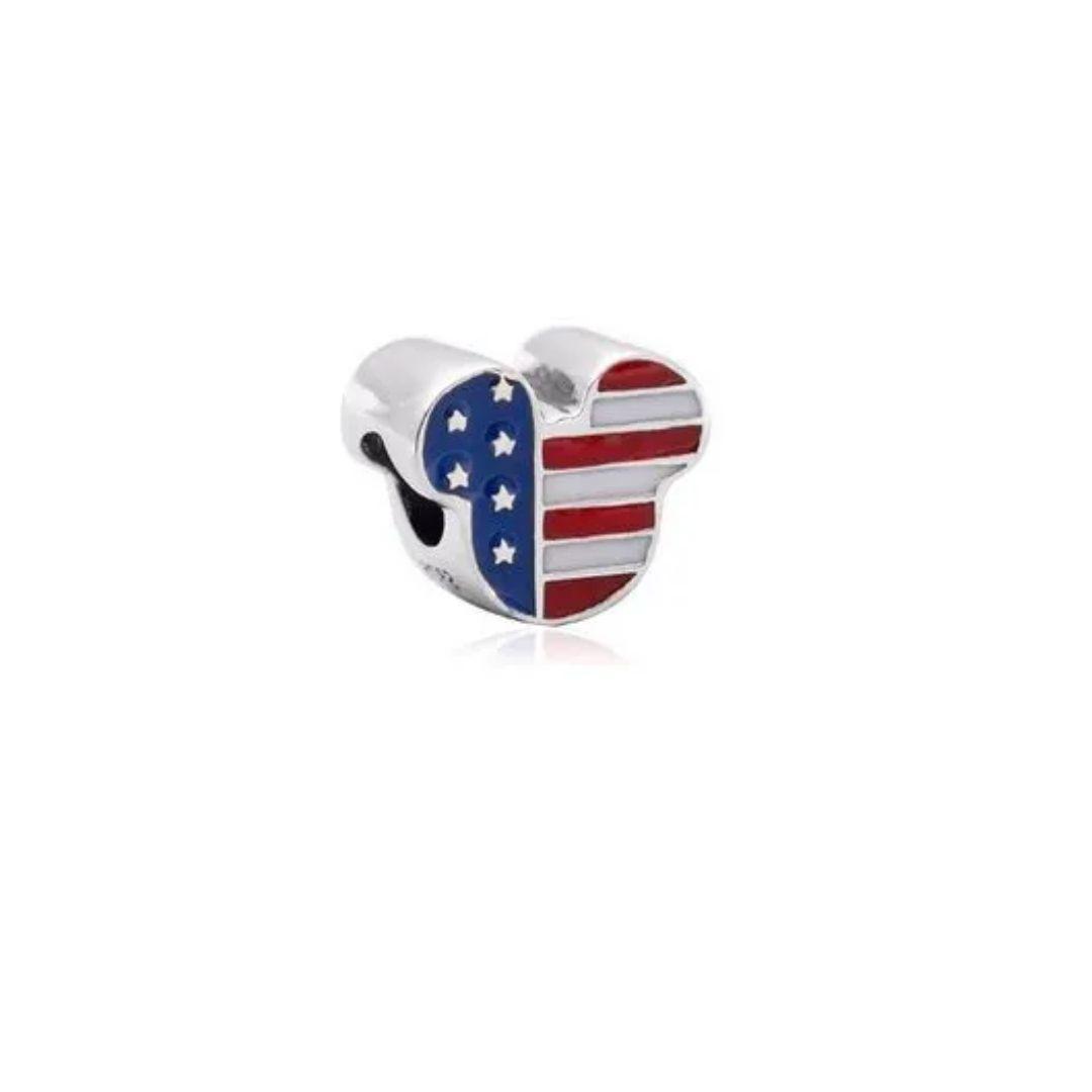 Berloque Mickey EUA Prata 925
