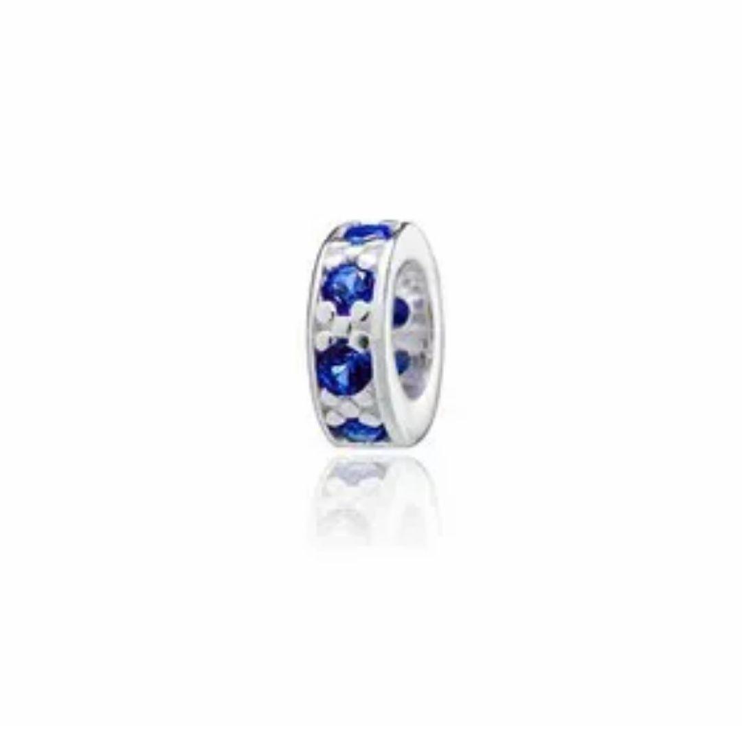 Berloque Mini Separador Zircônia Azul Prata 925