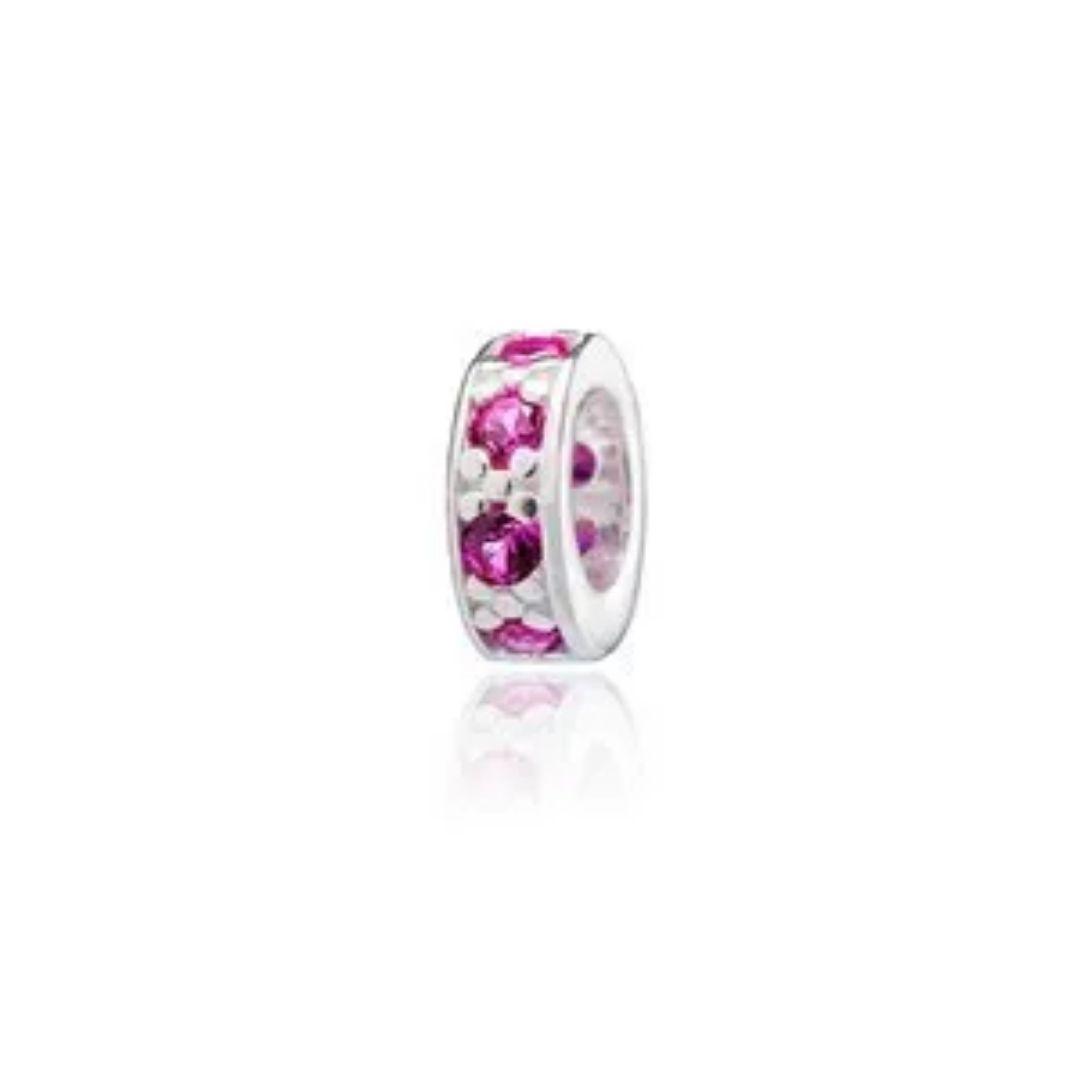 Berloque Mini Separador Zircônia Rosa Pink Prata 925