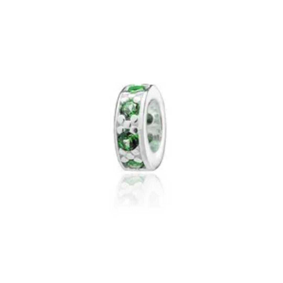 Berloque Mini Separador Zircônia Verde Prata 925
