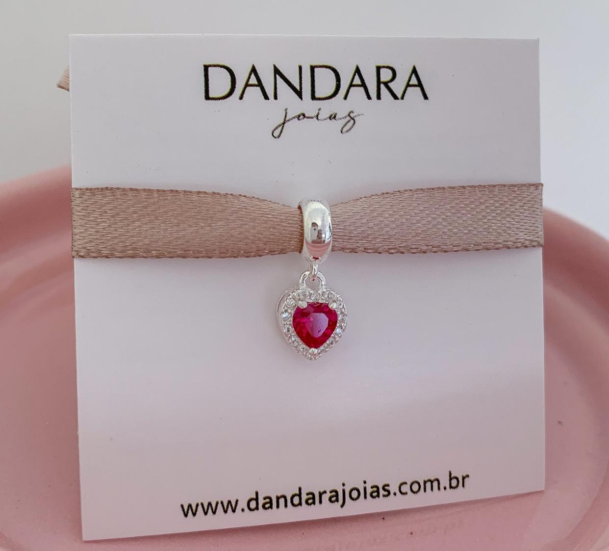 Berloque Coração Radiante Com Zircônia Pink Prata 925