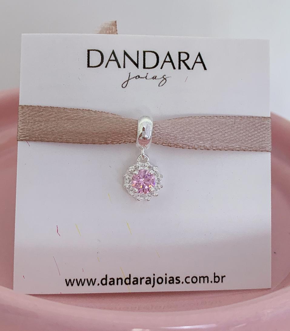 Berloque Radiante Zircônia Rosa Claro Prata 925