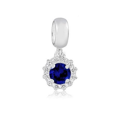 Berloque Radiante Zircônia Azul Prata 925