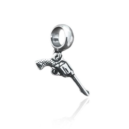 Berloque Revolver Prata 925