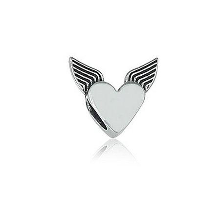 Berloque Separador Coração Alado Prata 925