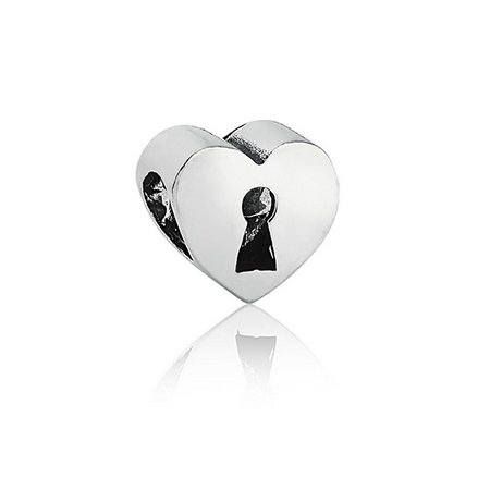 Berloque Separador Coração Cadeado Prata 925