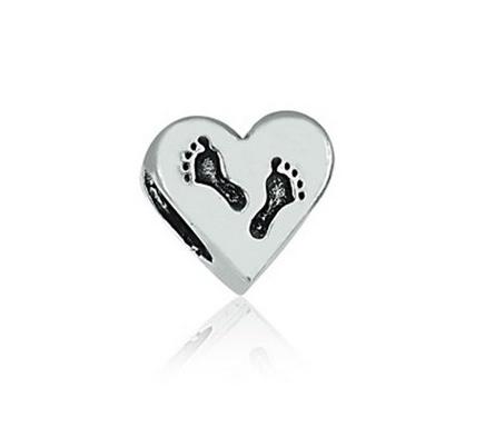 Berloque Separador Coração Com Pegadas Prata 925