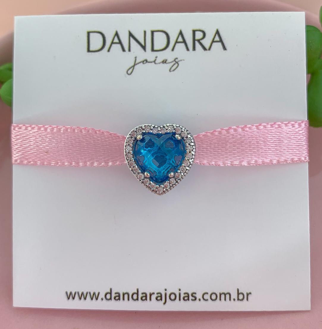 Berloque Separador Coração Cristal Azul Claro Prata 925