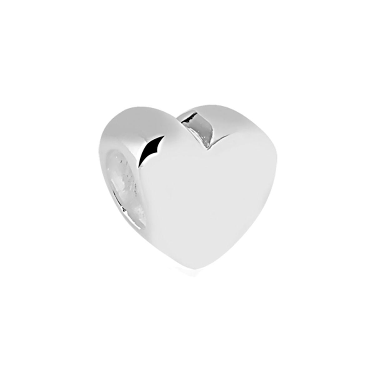 Berloque Separador Coração Liso Prata 925