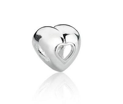 Berloque Separador Coração Vazado Prata 925