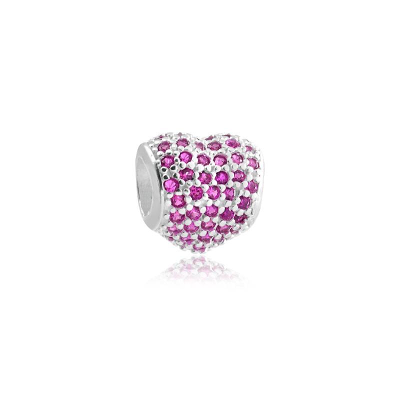Berloque Separador Coração Zircônia Rosa Prata 925