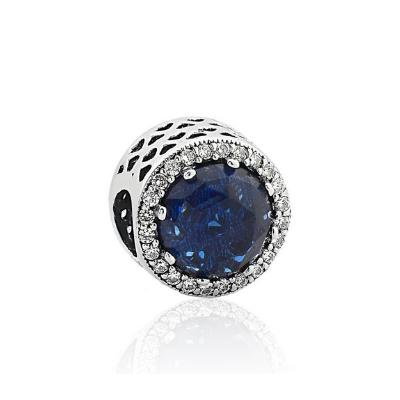 Berloque Separador Cristal Azul Prata 925