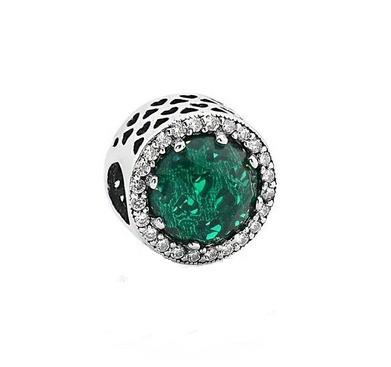 Berloque Separador Cristal Verde Prata 925