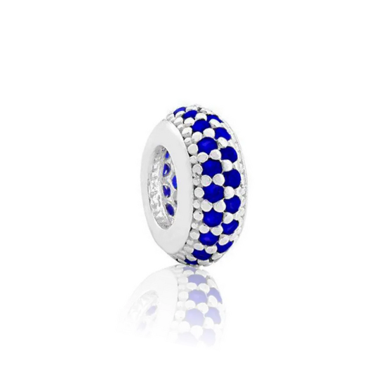 Berloque Separador Zircônia Azul Prata 925