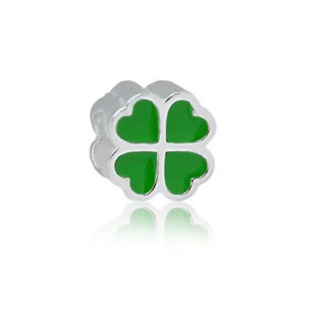 Berloque Trevo Verde Prata 925