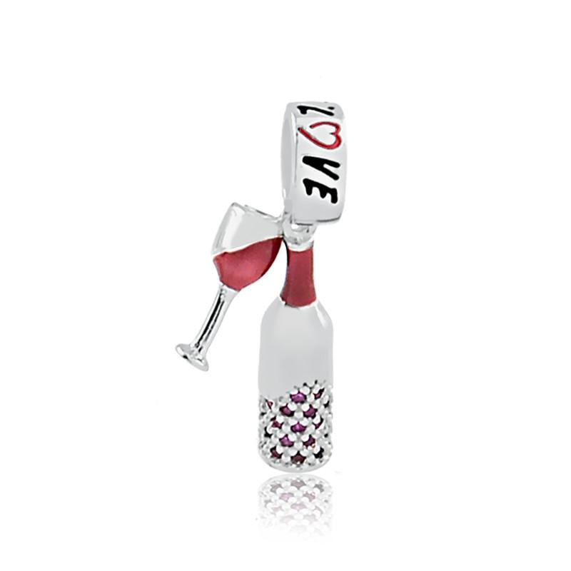 Berloque Vinho e Taça Prata 925
