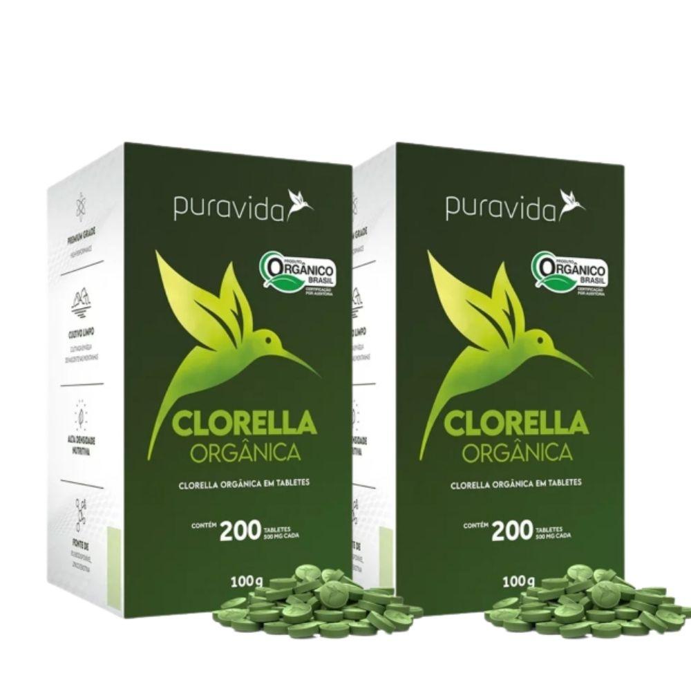2x Clorella Orgânica, 200 Tabletes, 500mg - Pura Vida | Clorella