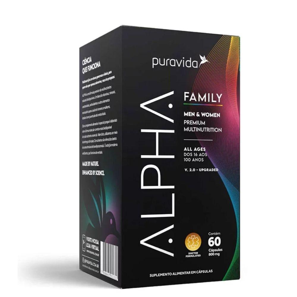 Alpha Family (60 Cápsulas) - Puravida | Men & Women 800mg |Frete Grátis