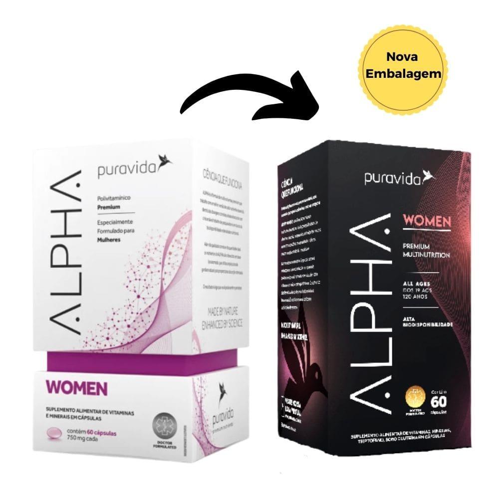 Alpha Women Polivitamínico Premium, Puravida, 60 Cápsulas
