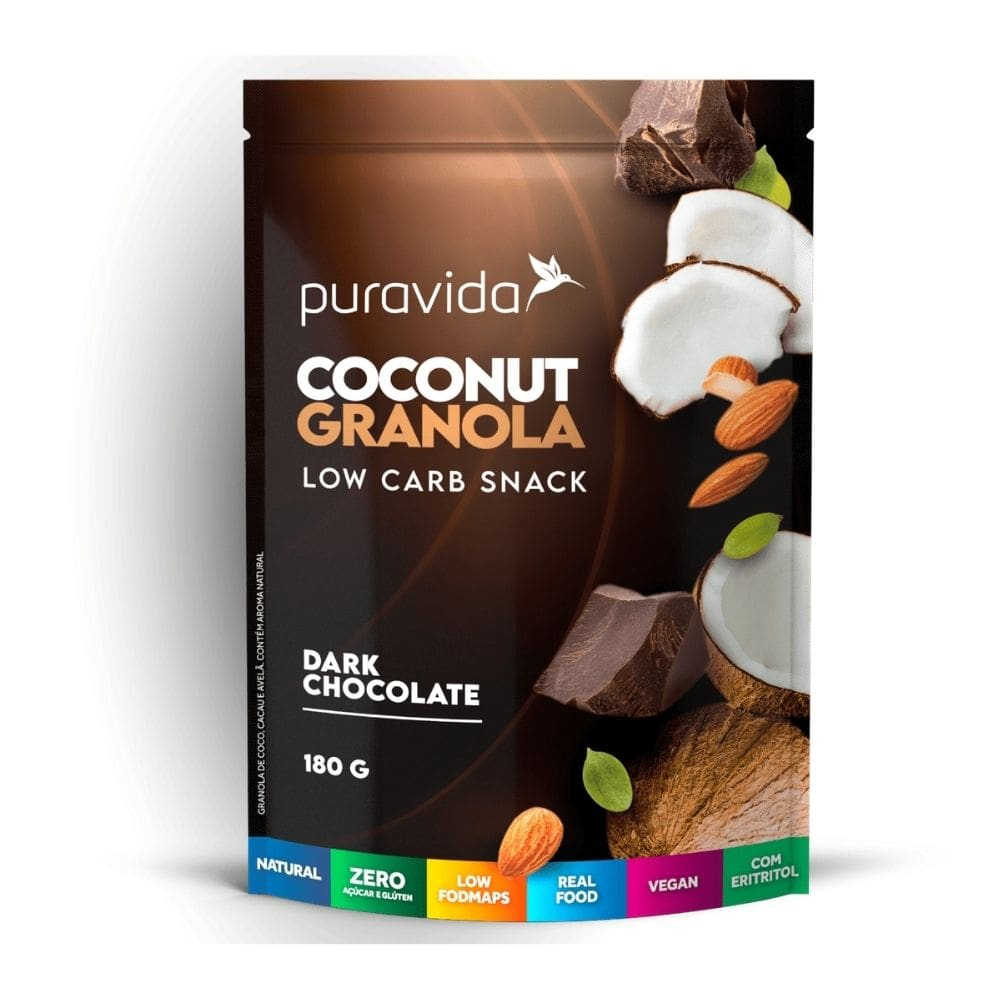 Coconut Granola Dark Chocolate 180g Puravida