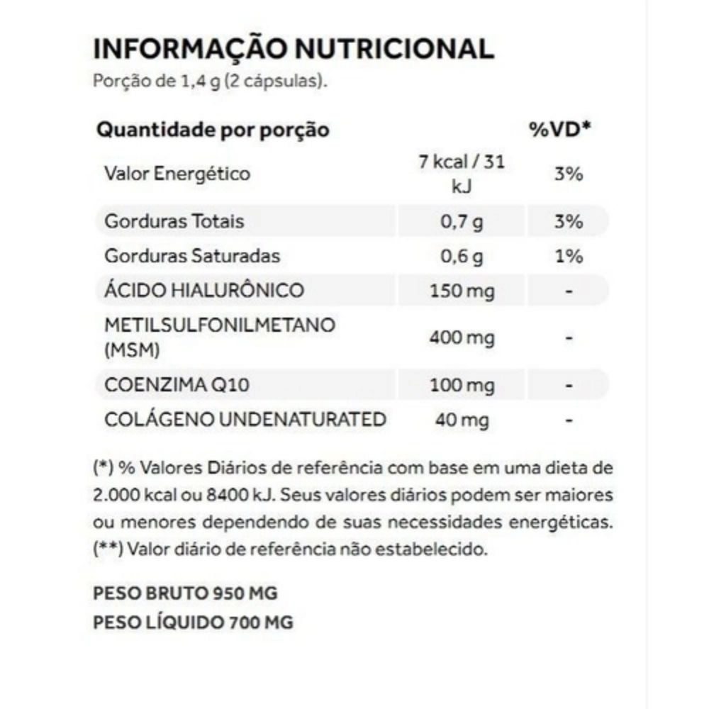 Collagen Flex Beauty Colágeno Tipo 2 MSM Àcido Hialurônico COQ10 Puravida 60 cáps