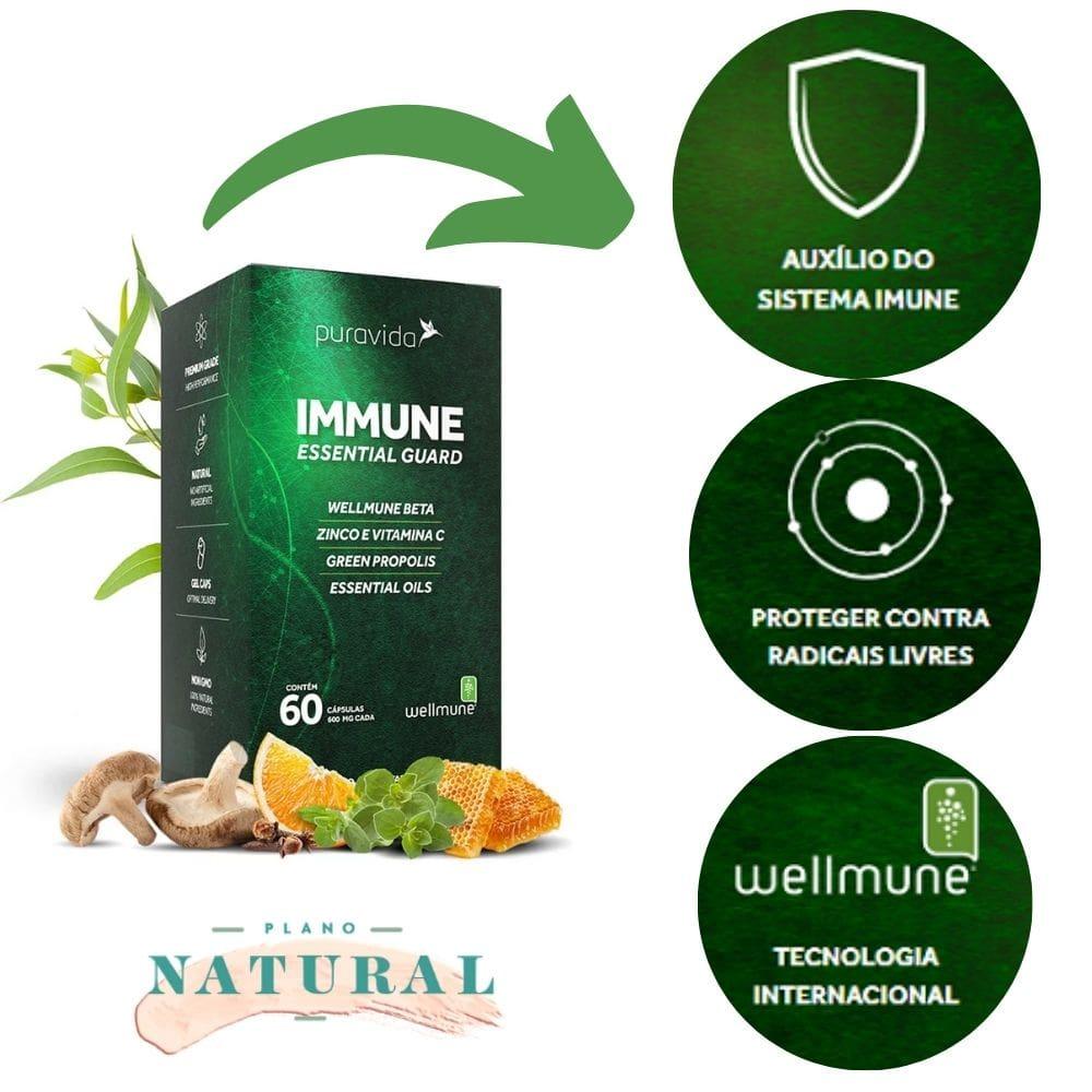 Immune Guard 600mg (60 Cápsulas) Puravida   Proteger Contra Radicais Livres