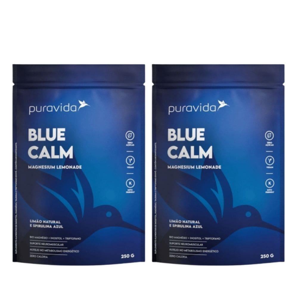 Kit 2 Blue Calm 250g Magnésio+inositol+spirulina Azul - Pura Vida
