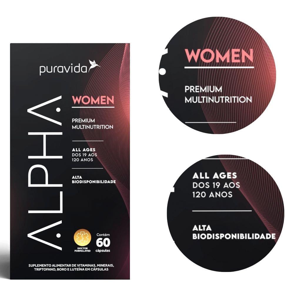 kit 2x Alpha Women Polivitamínico Premium, Puravida, 60 Cápsulas