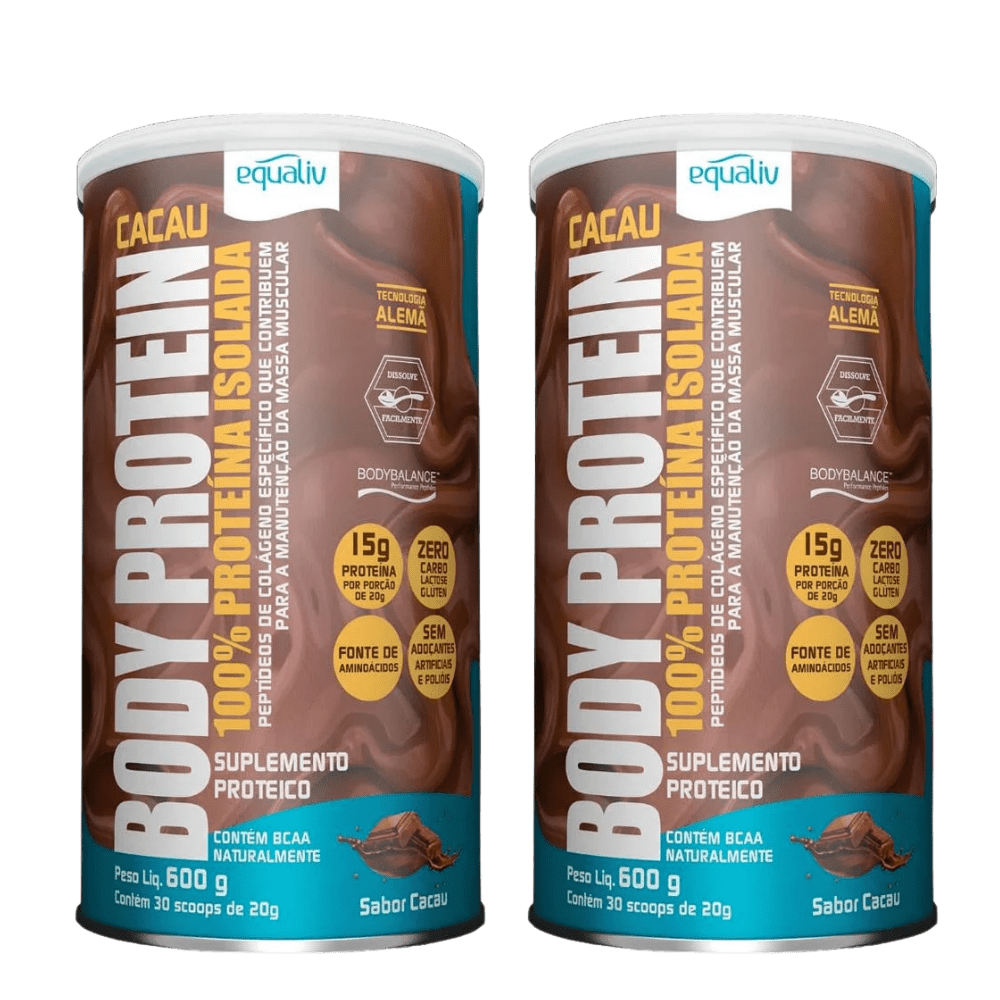 Kit 2x Equaliv Body Protein Cacau 100% Proteína Isolada 600g