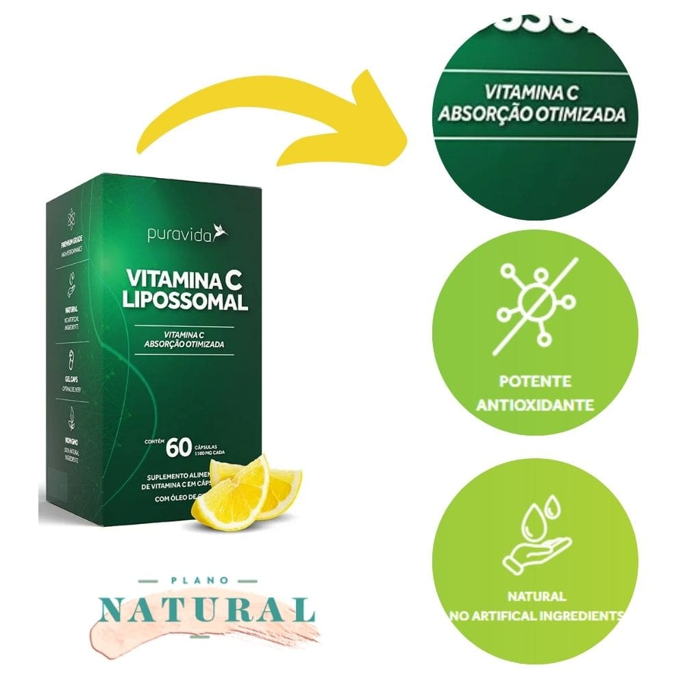 Vitamina C Lipossomal (60 Cápsulas) - Puravida