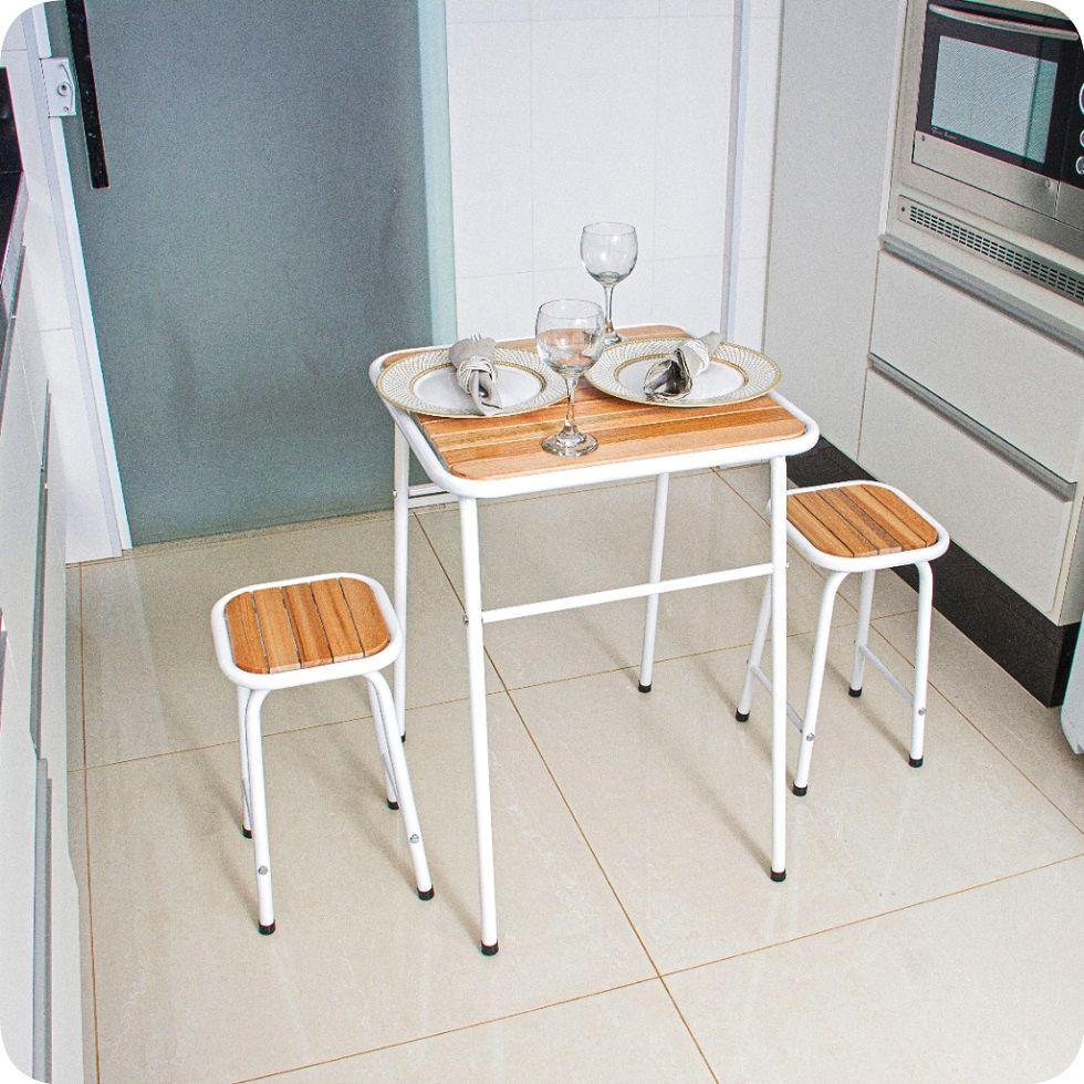 Conjunto De Mesa E 2 Bancos Branco Para Cozinha Compacta
