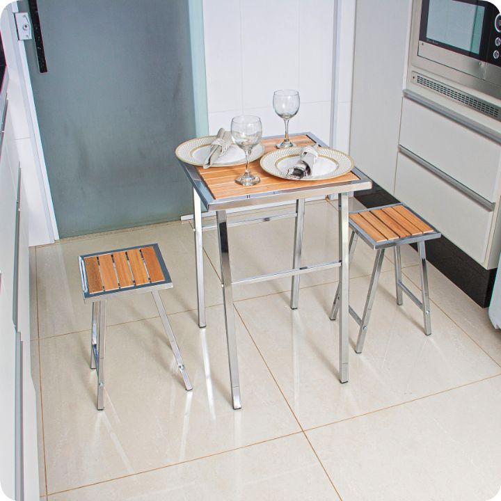 Conjunto De Mesa E 2 Bancos Cromado P/ Cozinha Pequena