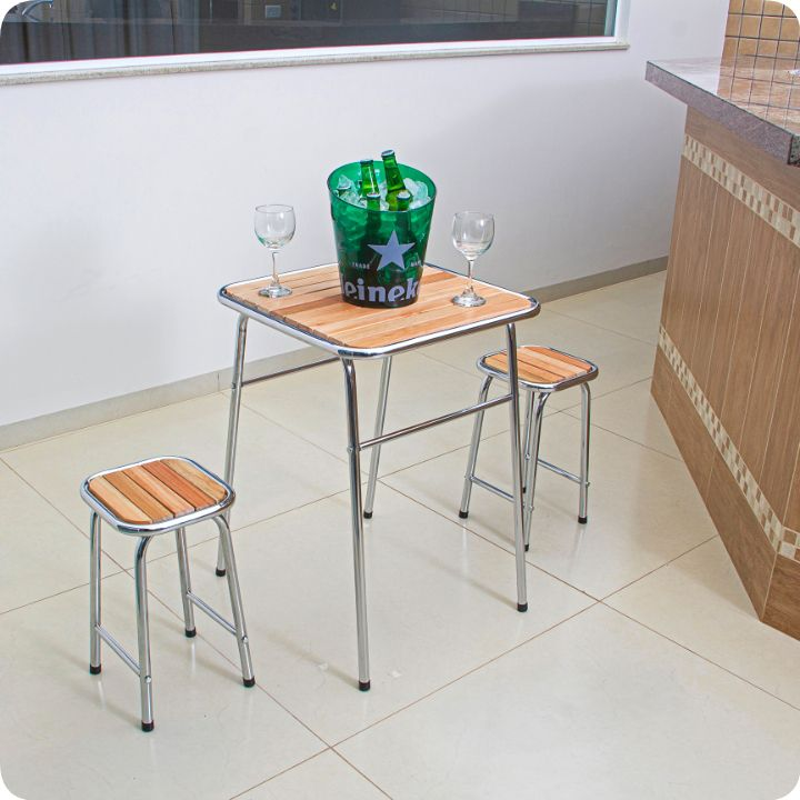Conjunto de mesa e 2 bancos cromado para varanda gourmet