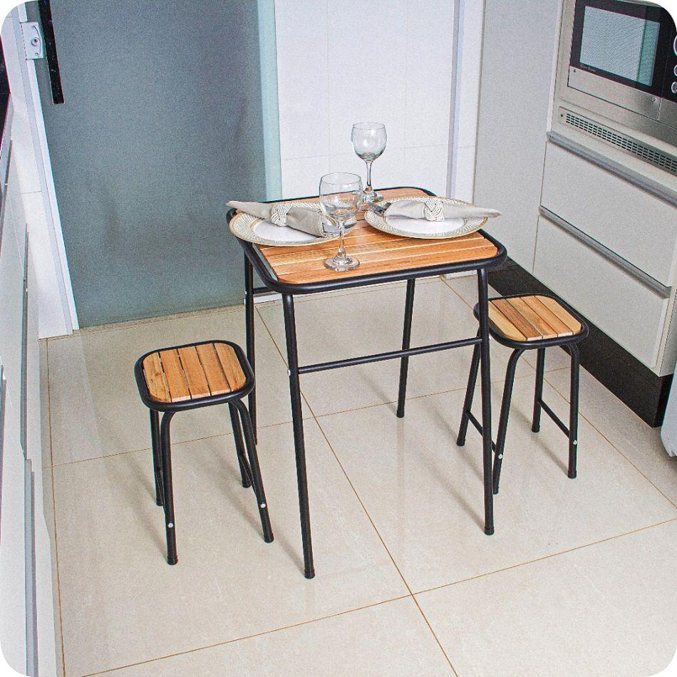 Conjunto De Mesa E 2 Bancos Preto Para Cozinha Compacta