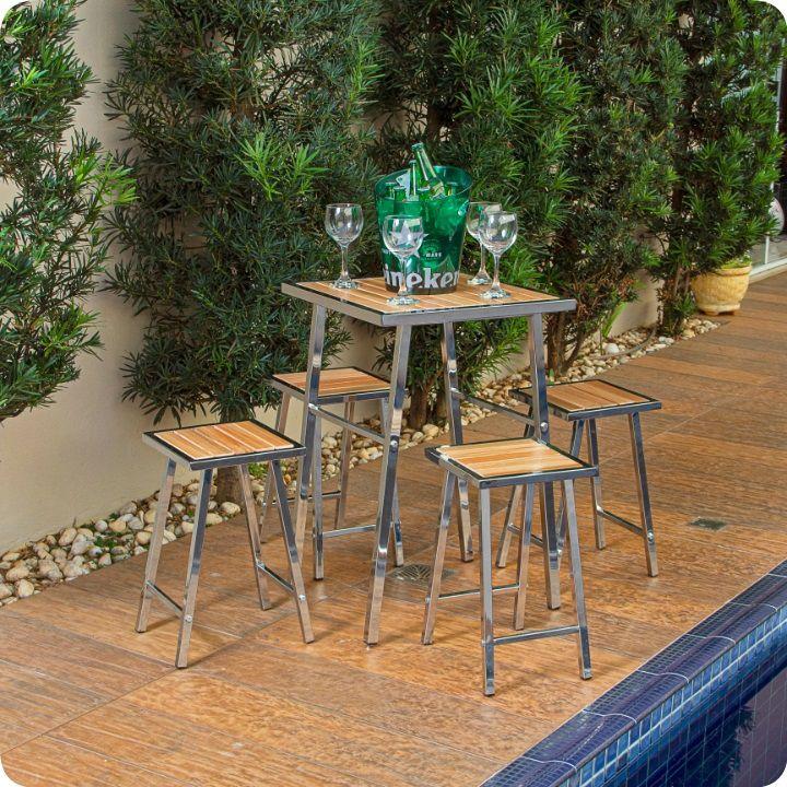 Conjunto De Mesa E 4 Cadeiras Para Varanda Ou Área Externa