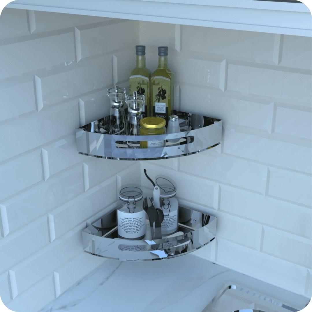 Kit 2 Porta Temperos e Condimentos de Parede Inox Multiuso