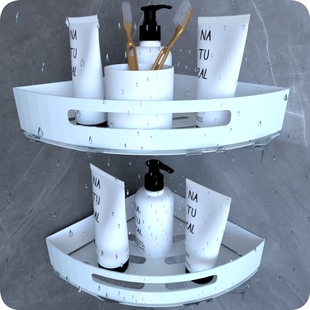 Kit 2 Suportes Porta Shampoo Para Banheiro De Canto Branco