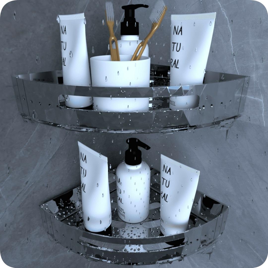 Kit 2 Suportes Porta Shampoo Para Banheiro De Canto Inox